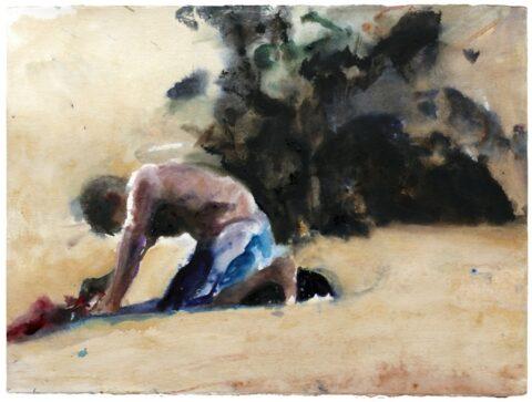 Crouching beach figure