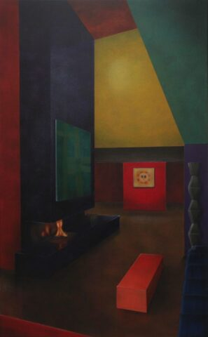 Untitled (Column, paintings and orange seat)