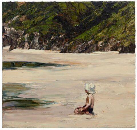 Beach landscape (boy and hat)
