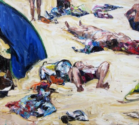 Beach tent and figures