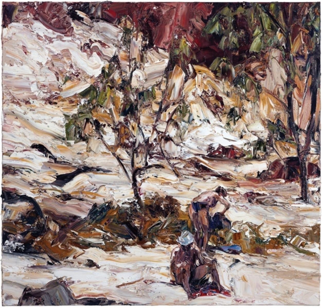 Estuary landscape (figures and red towel)