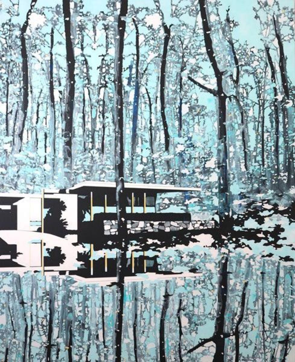 Blue forest mirror
