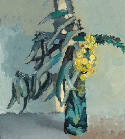 Wattle flower and eucalyptus leaves