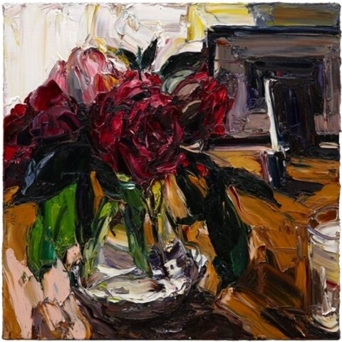 Paris still life (night peonies with candle glass)