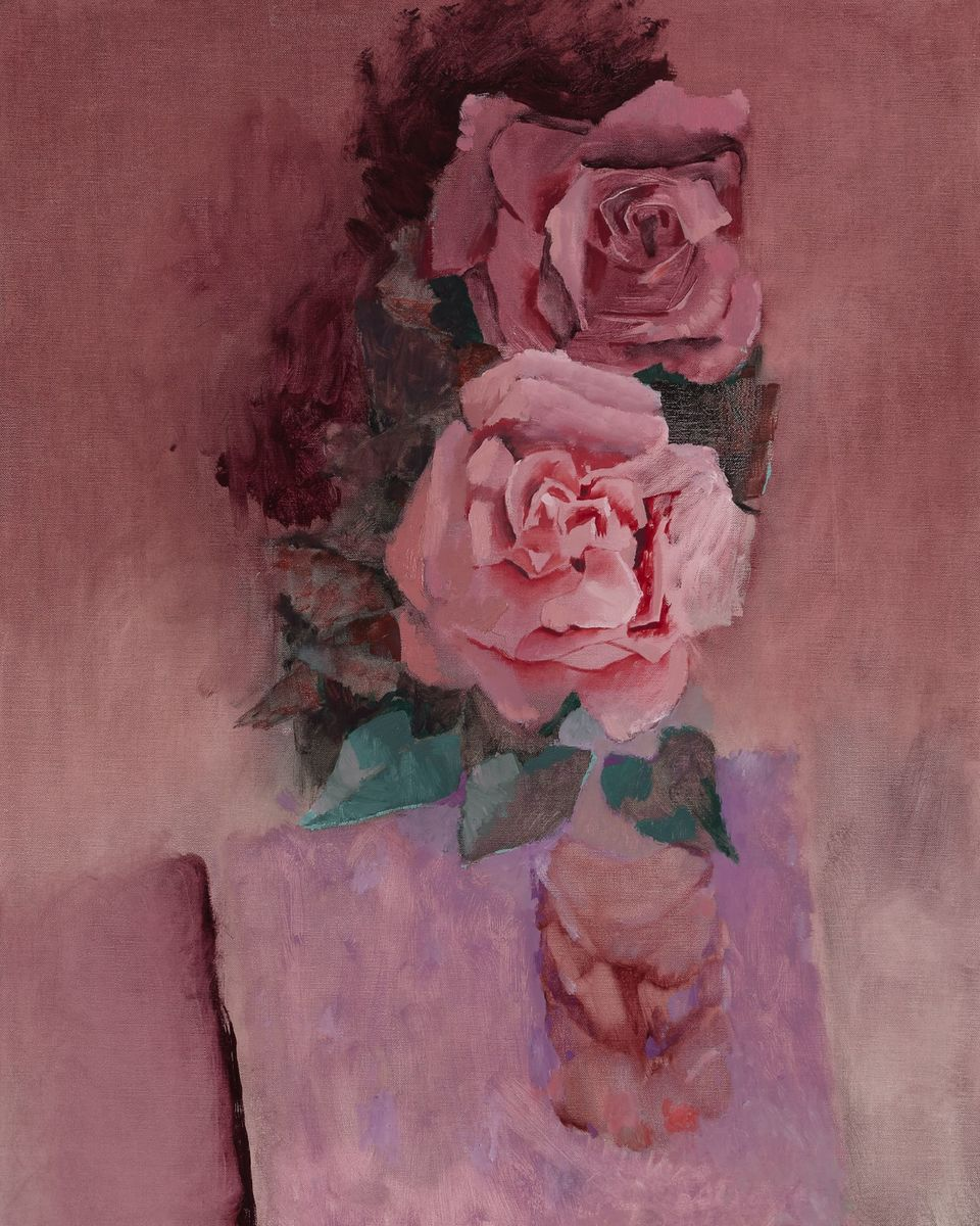 Two roses on violet