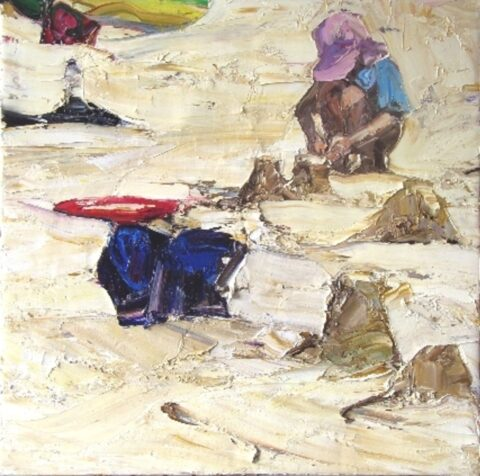 Beach figures (pink hat and sandcastles)