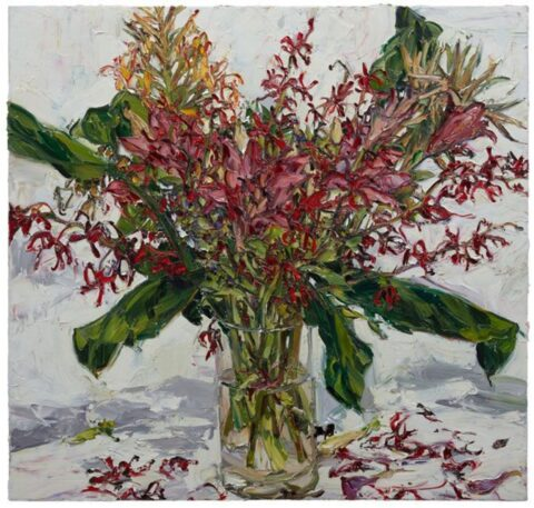 Orchids and lilies with ginger