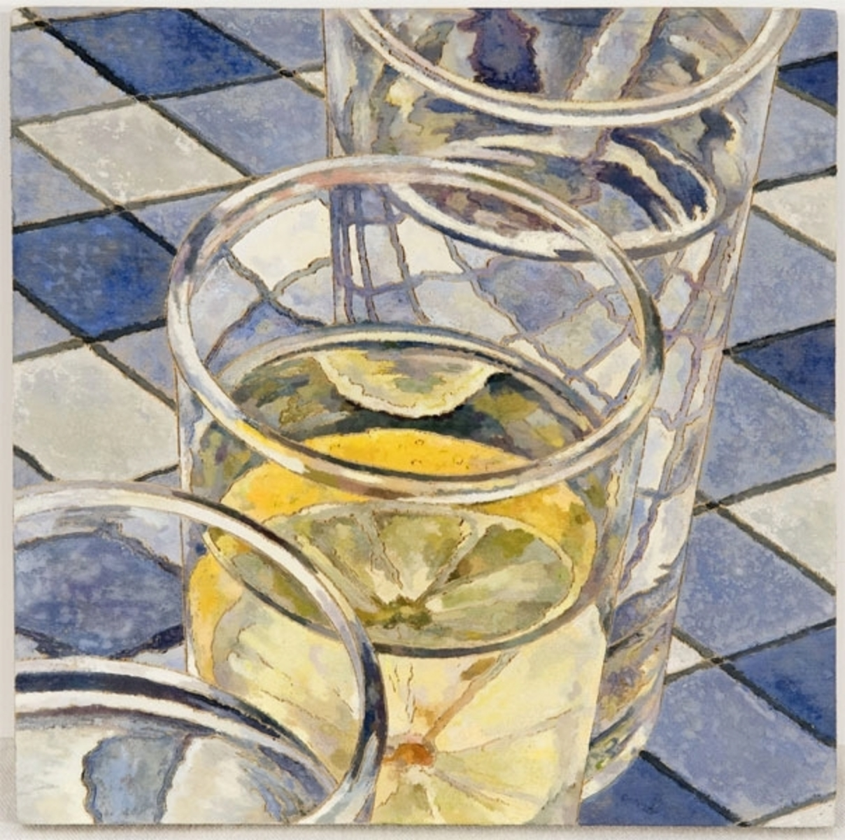 Glasses of water with lemon