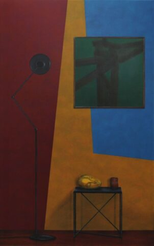 Untitled (Head, basket and lamp)