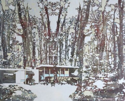 Red and white forest landscape