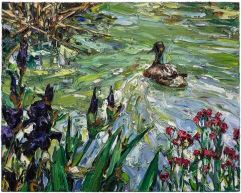 Paris pond (irises and duck)