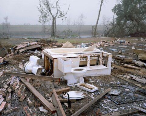 Remains of a home with canal and levy in background, Chalmette neighbourhood, New Orleans