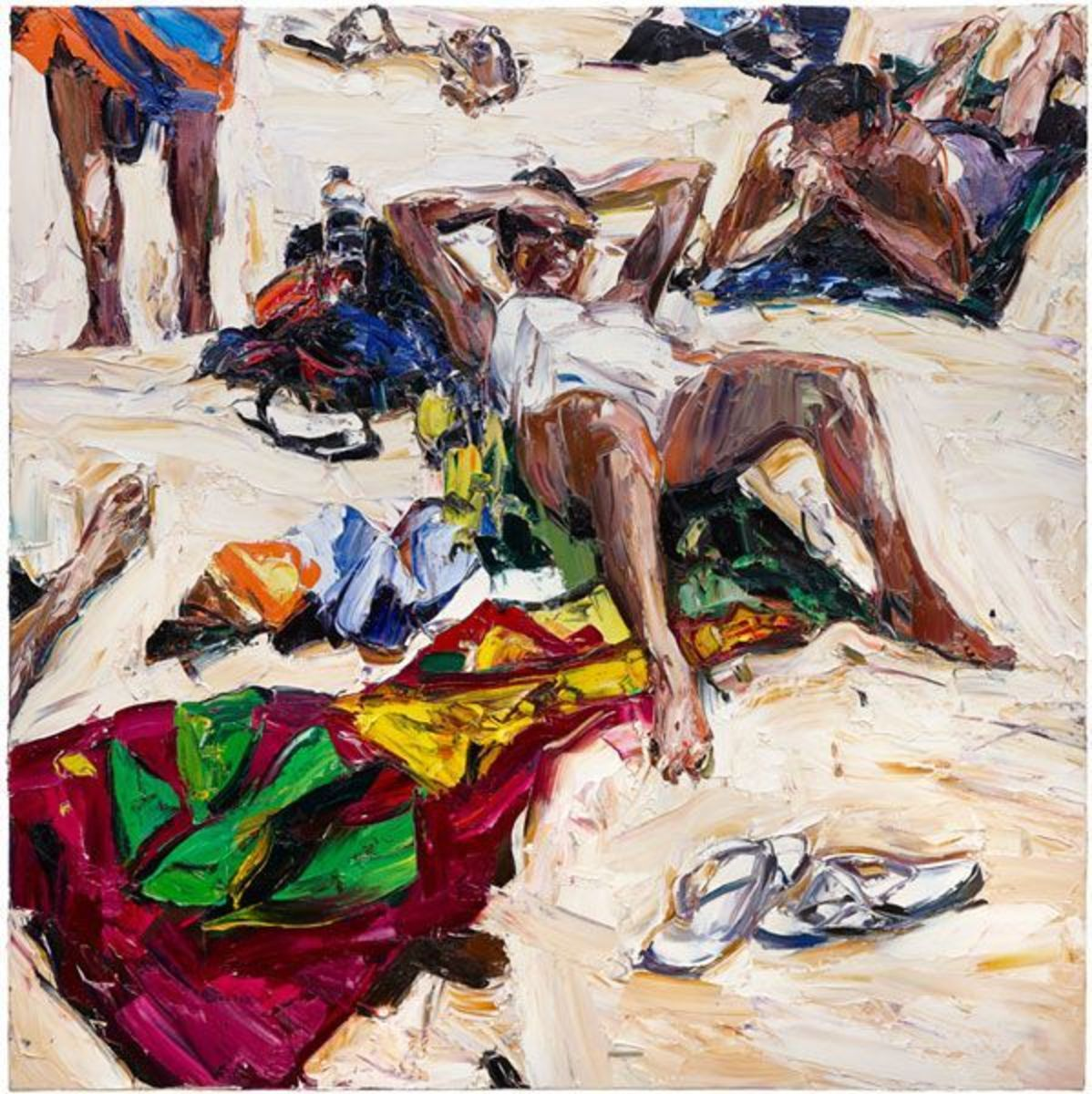 Beach life (towels, thongs, waterbottle, feet and figures)