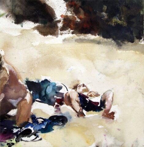 Beach figures (thongs, waterbottle and bag)