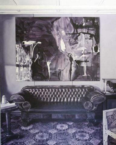 1820s Regency leather sofa/Favela chair/Champion dachshund 'Windkiedach Wiggle'/a Dale Frank