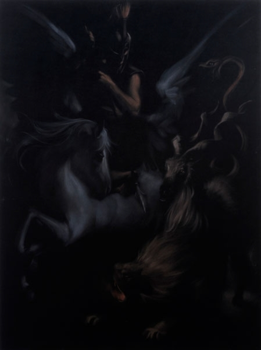 As the sun sets slowly in the west, brave Bellerophon, astride the winged horse Pegasus, slays the fearsome Chimaera