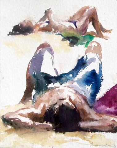 Two beach figures (thong and towel)