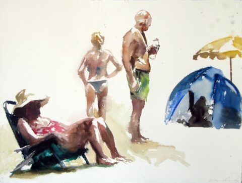 Beach tent, umbrella and figures