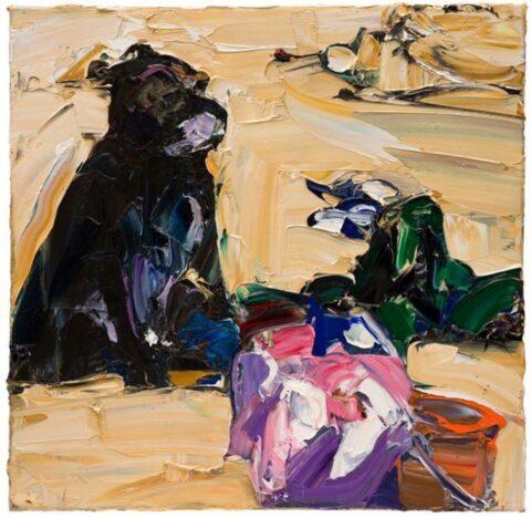 Beach life (black dog, towels and bucket)