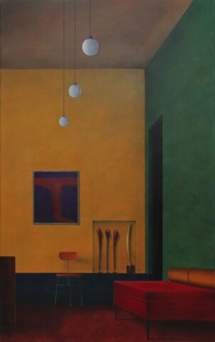 Untitled (Clubs, bird and orange chair)
