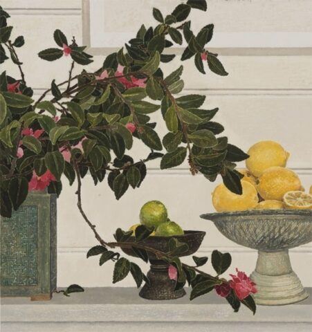 Camellias with limes and lemons
