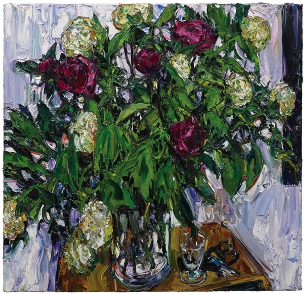 Paris still life (peonies with glass and lanyard)