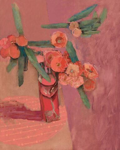 Red flowering eucalyptus on pink