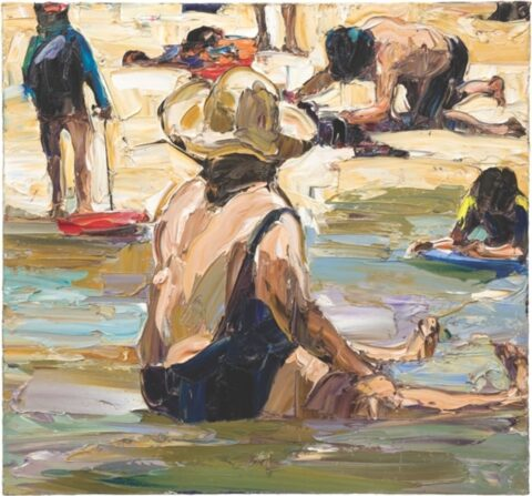 In the shallows (four figures, legs and boards)