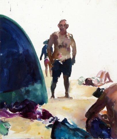Beach tent, figures and waterbottle